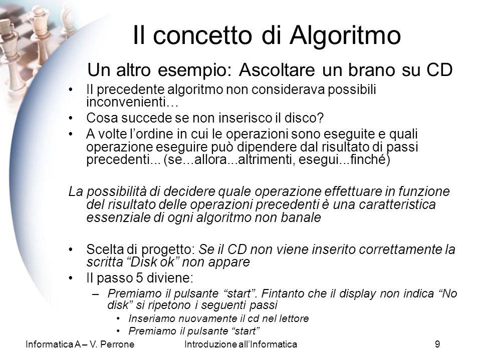 Informatica A – V. PerroneIntroduzione allInformatica9 Il concetto di Algoritmo Un altro esempio: Ascoltare un brano su CD Il precedente algoritmo non