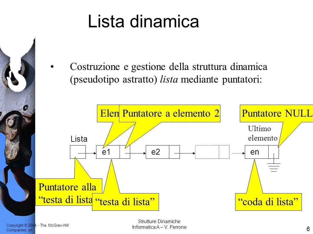 Copyright © 2004 - The McGraw-Hill Companies, srl 17 Strutture Dinamiche Informatica A – V.
