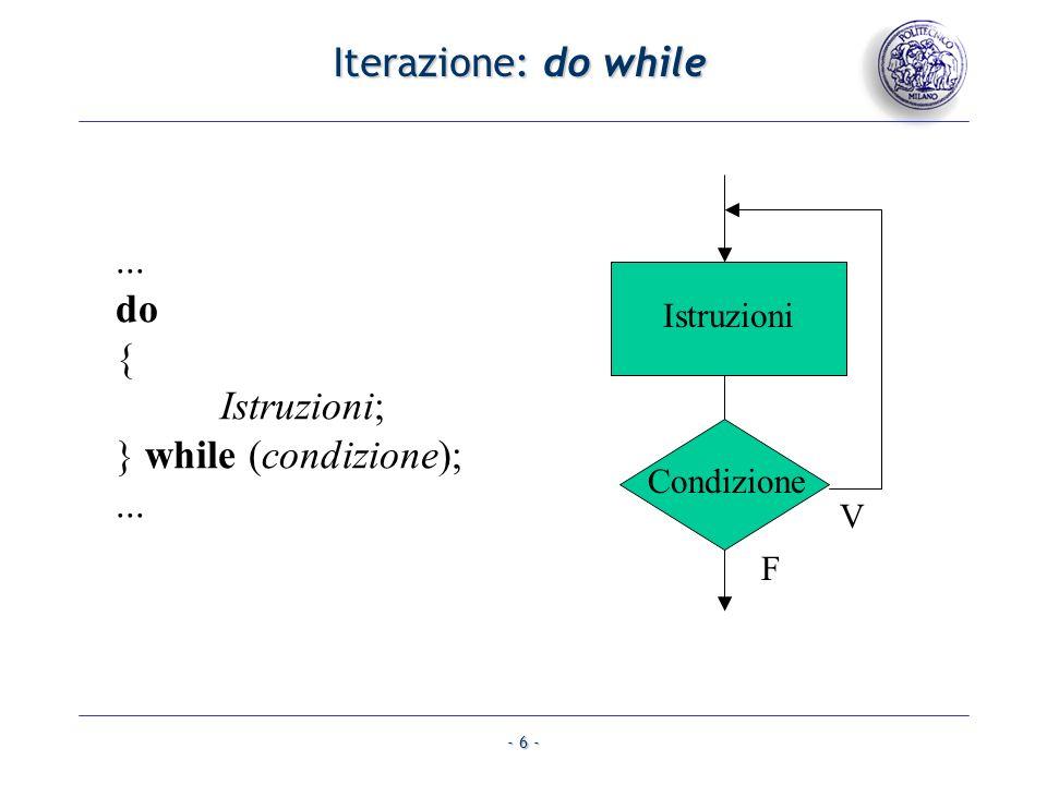 - 6 - Iterazione: do while Condizione Istruzioni V F... do { Istruzioni; } while (condizione);...