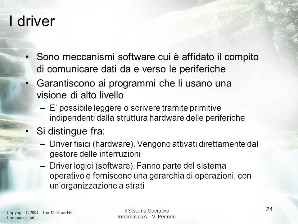 Copyright © 2004 - The McGraw-Hill Companies, srl Il Sistema Operativo Informatica A – V. Perrone 24 I driver Sono meccanismi software cui è affidato