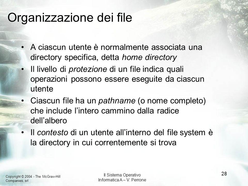 Copyright © 2004 - The McGraw-Hill Companies, srl Il Sistema Operativo Informatica A – V. Perrone 28 Organizzazione dei file A ciascun utente è normal