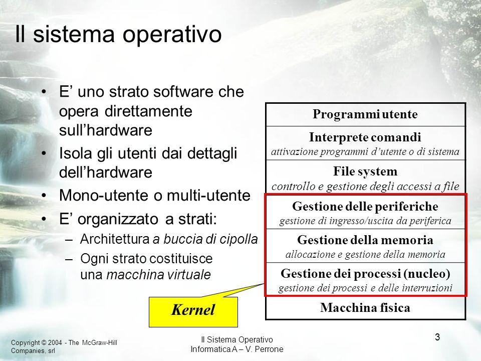 Copyright © 2004 - The McGraw-Hill Companies, srl Il Sistema Operativo Informatica A – V. Perrone 3 Il sistema operativo E uno strato software che ope