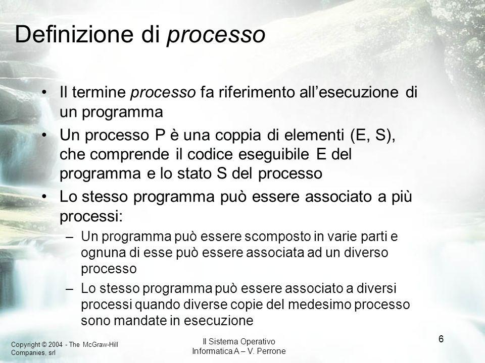 Copyright © 2004 - The McGraw-Hill Companies, srl Il Sistema Operativo Informatica A – V. Perrone 6 Definizione di processo Il termine processo fa rif