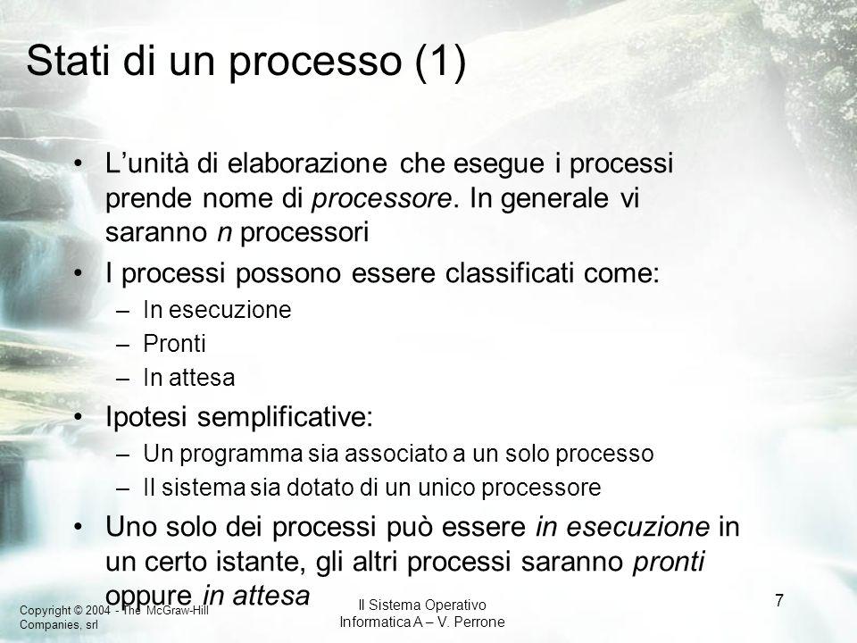 Copyright © 2004 - The McGraw-Hill Companies, srl Il Sistema Operativo Informatica A – V. Perrone 7 Stati di un processo (1) Lunità di elaborazione ch