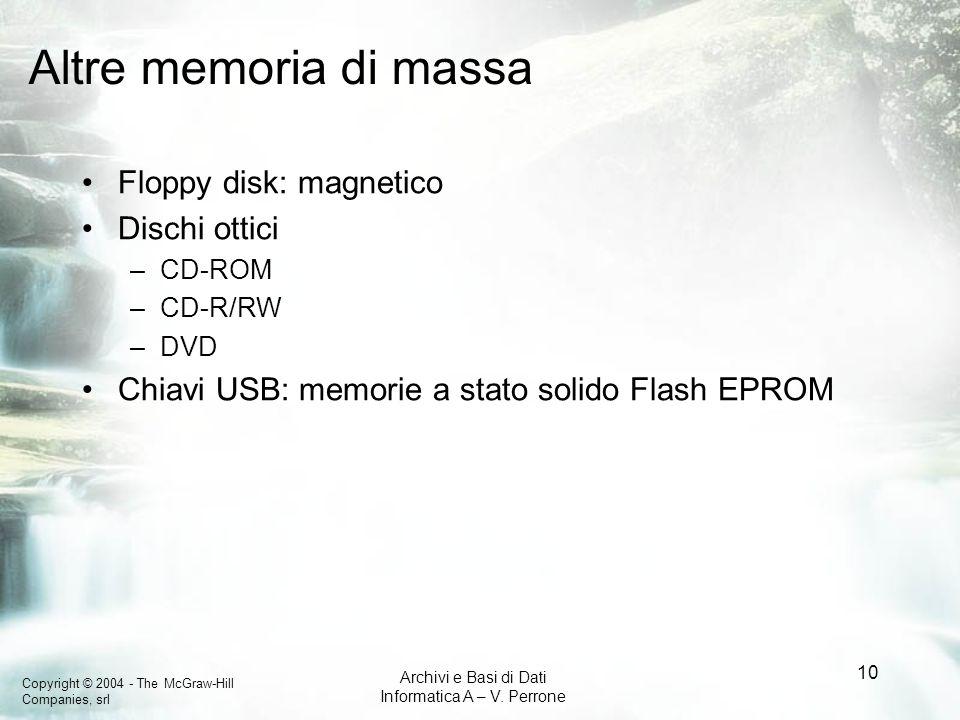 Copyright © 2004 - The McGraw-Hill Companies, srl Archivi e Basi di Dati Informatica A – V. Perrone 10 Altre memoria di massa Floppy disk: magnetico D