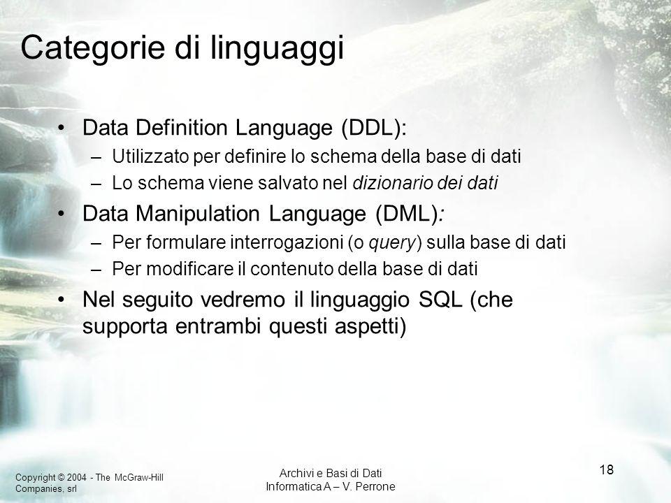 Copyright © 2004 - The McGraw-Hill Companies, srl Archivi e Basi di Dati Informatica A – V. Perrone 18 Categorie di linguaggi Data Definition Language