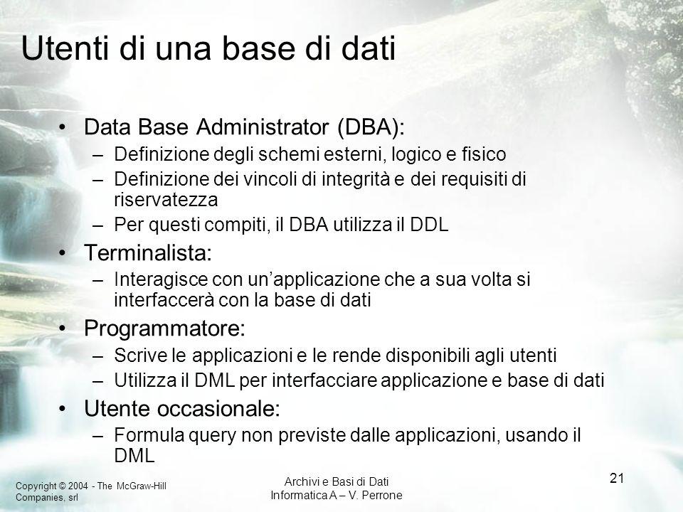 Copyright © 2004 - The McGraw-Hill Companies, srl Archivi e Basi di Dati Informatica A – V. Perrone 21 Utenti di una base di dati Data Base Administra