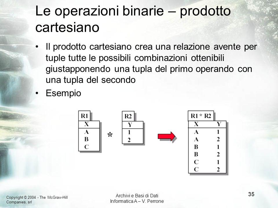Copyright © 2004 - The McGraw-Hill Companies, srl Archivi e Basi di Dati Informatica A – V. Perrone 35 Le operazioni binarie – prodotto cartesiano Il