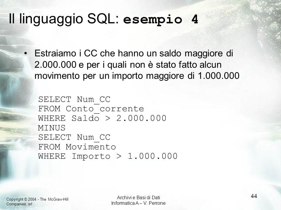 Copyright © 2004 - The McGraw-Hill Companies, srl Archivi e Basi di Dati Informatica A – V. Perrone 44 Il linguaggio SQL: esempio 4 Estraiamo i CC che