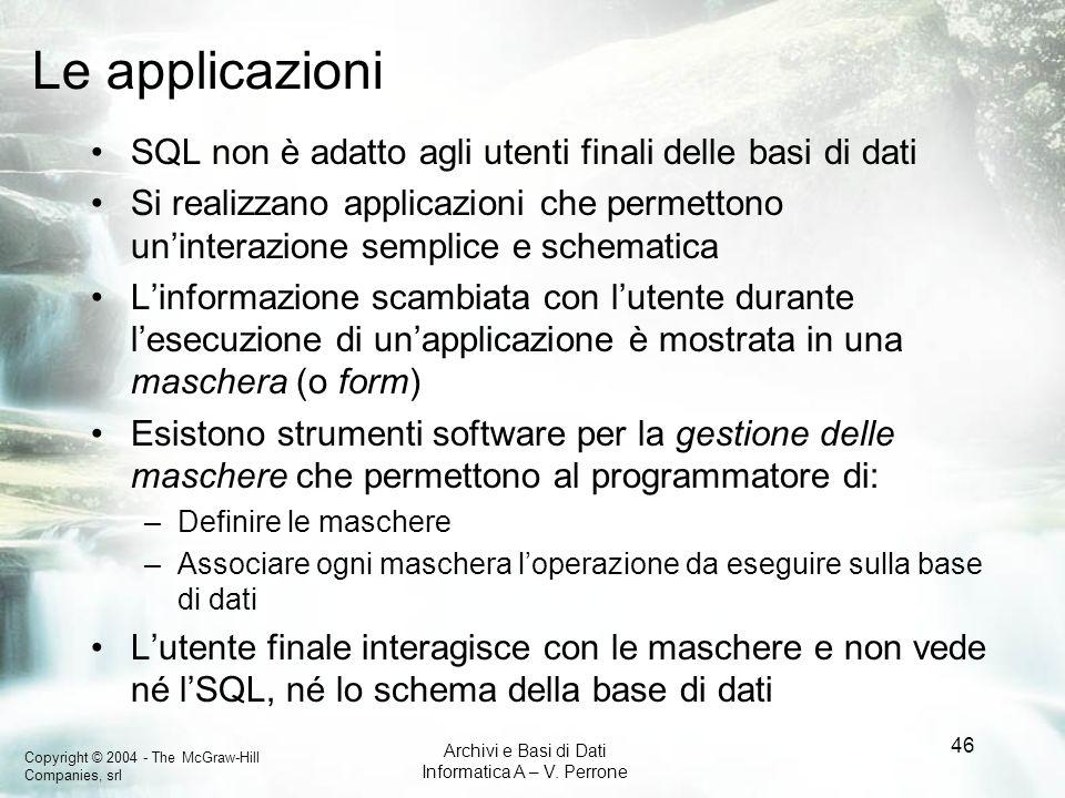 Copyright © 2004 - The McGraw-Hill Companies, srl Archivi e Basi di Dati Informatica A – V. Perrone 46 Le applicazioni SQL non è adatto agli utenti fi