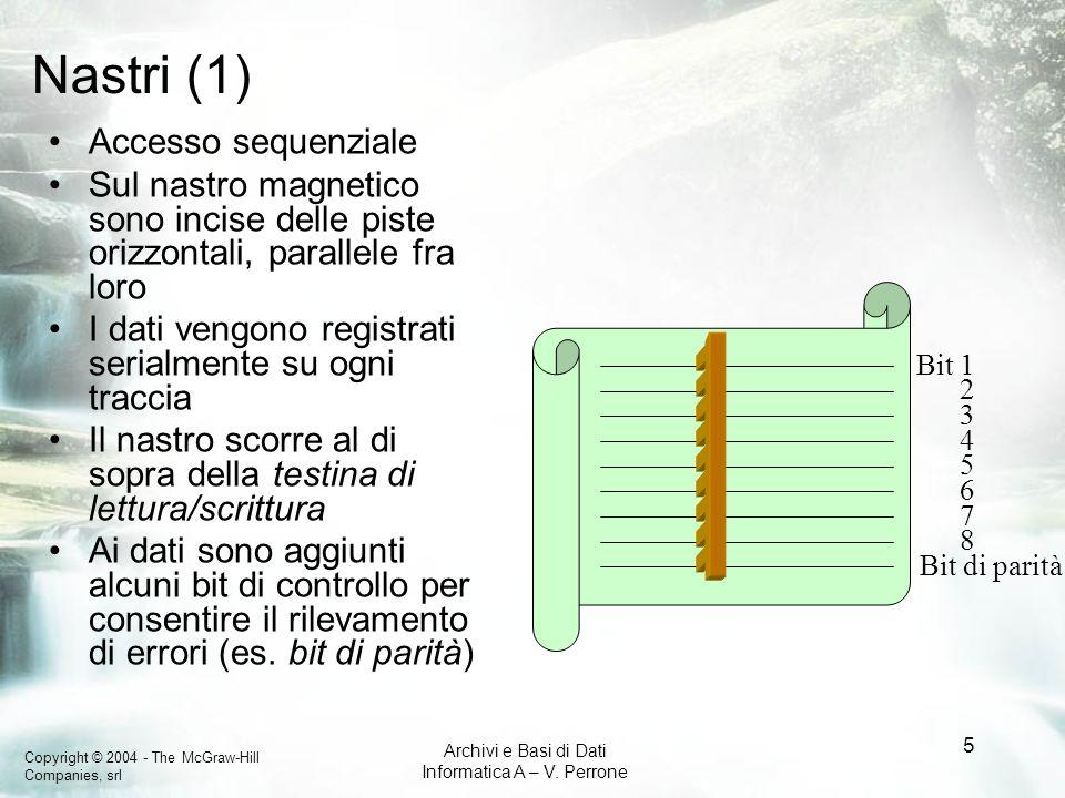 Copyright © 2004 - The McGraw-Hill Companies, srl Archivi e Basi di Dati Informatica A – V. Perrone 5 Nastri (1) Accesso sequenziale Sul nastro magnet