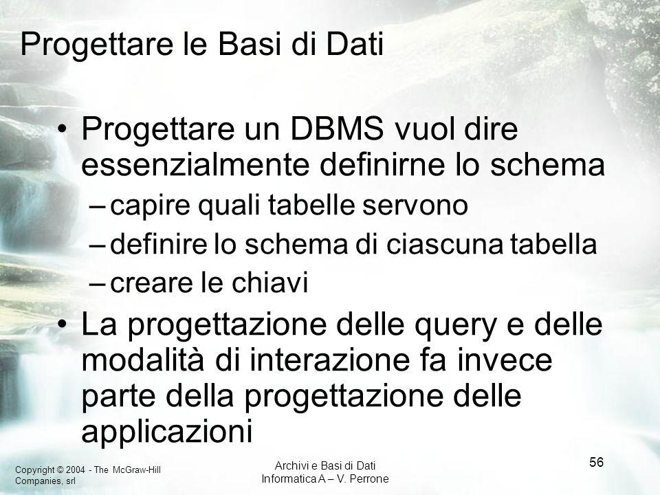 Copyright © 2004 - The McGraw-Hill Companies, srl Archivi e Basi di Dati Informatica A – V. Perrone 56 Progettare le Basi di Dati Progettare un DBMS v