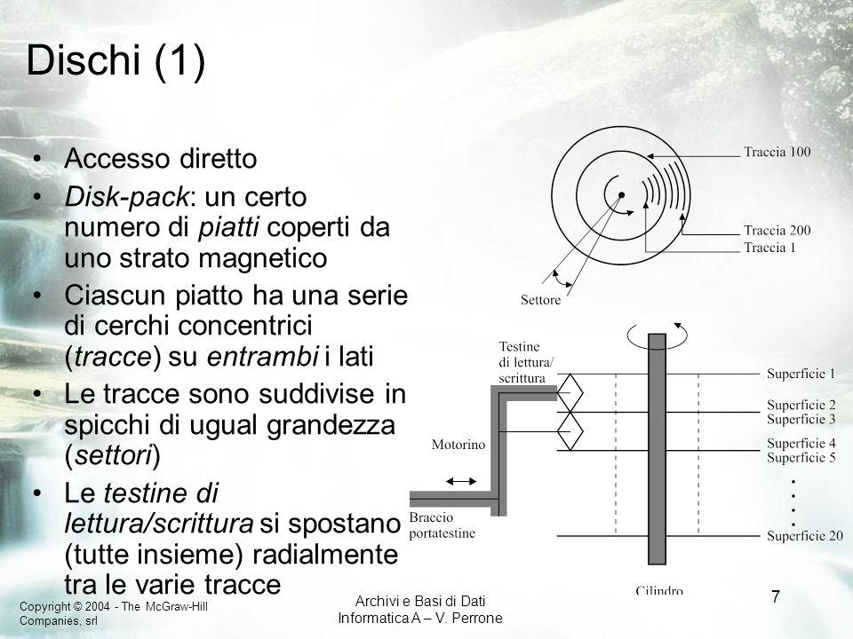 Copyright © 2004 - The McGraw-Hill Companies, srl Archivi e Basi di Dati Informatica A – V. Perrone 7 Dischi (1) Accesso diretto Disk-pack: un certo n
