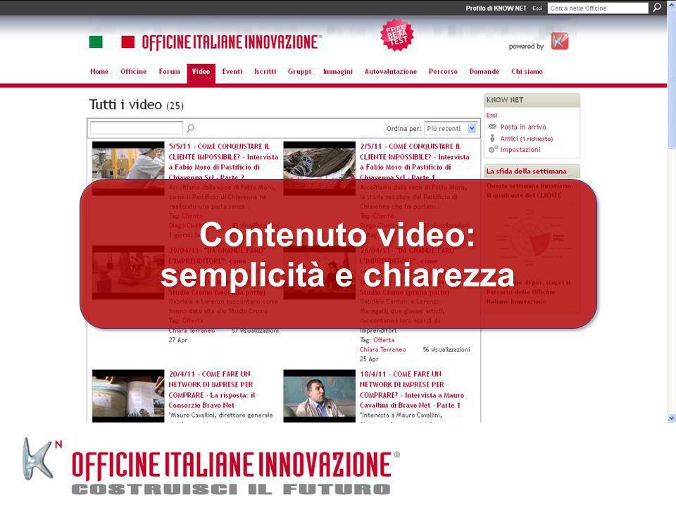 Contenuto video: semplicità e chiarezza Contenuto video: semplicità e chiarezza