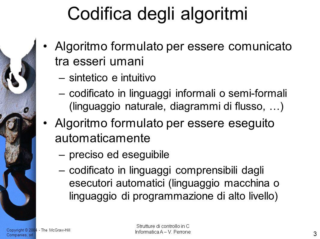 Copyright © 2004 - The McGraw-Hill Companies, srl 3 Strutture di controllo in C Informatica A – V. Perrone Codifica degli algoritmi Algoritmo formulat
