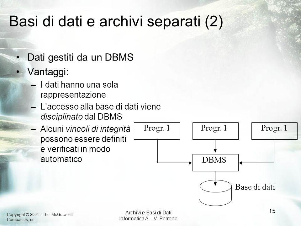 Copyright © 2004 - The McGraw-Hill Companies, srl Archivi e Basi di Dati Informatica A – V. Perrone 15 Basi di dati e archivi separati (2) Dati gestit