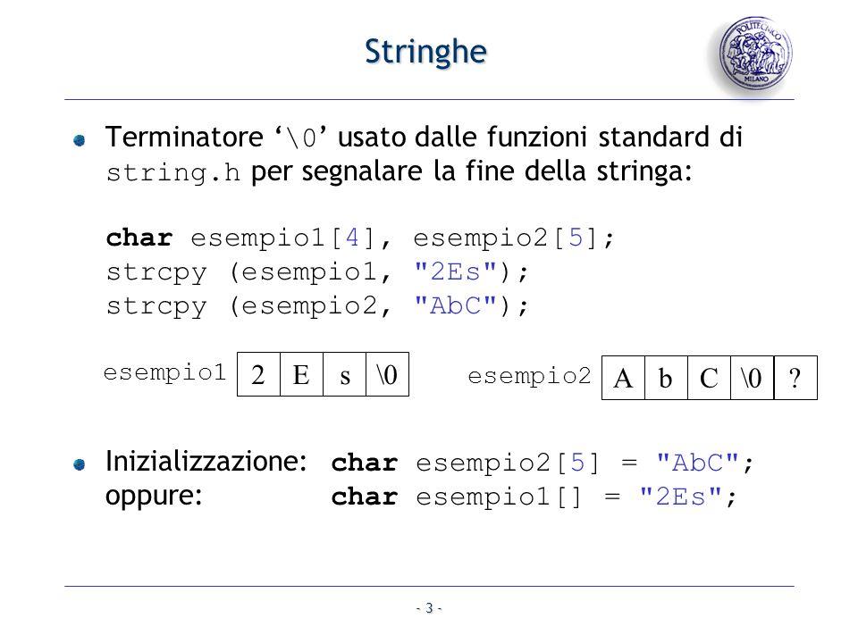 - 3 - Stringhe Terminatore \0 usato dalle funzioni standard di string.h per segnalare la fine della stringa: char esempio1[4], esempio2[5]; strcpy (esempio1, 2Es ); strcpy (esempio2, AbC ); \0sE2 esempio1 Inizializzazione: char esempio2[5] = AbC ; oppure: char esempio1[] = 2Es ; \0CbA esempio2