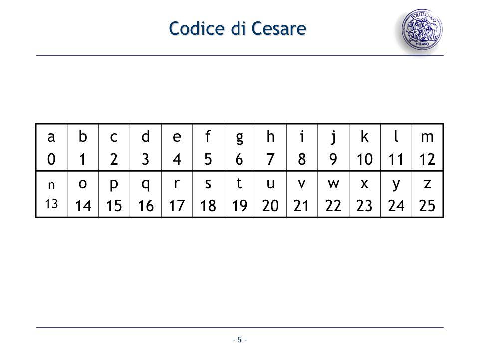 - 5 - Codice di Cesare a0a0 b1b1 c2c2 d3d3 e4e4 f5f5 g6g6 h7h7 i8i8 j9j9 k 10 l 11 m 12 n 13 o 14 p 15 q 16 r 17 s 18 t 19 u 20 v 21 w 22 x 23 y 24 z 25