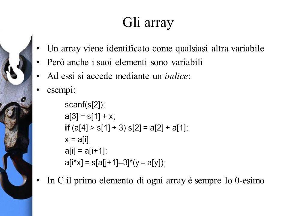 Gli array Un array viene identificato come qualsiasi altra variabile Però anche i suoi elementi sono variabili Ad essi si accede mediante un indice: esempi: scanf(s[2]); a[3] = s[1] + x; if (a[4] > s[1] + 3) s[2] = a[2] + a[1]; x = a[i]; a[i] = a[i+1]; a[i*x] = s[a[j+1]–3]*(y – a[y]); In C il primo elemento di ogni array è sempre lo 0-esimo
