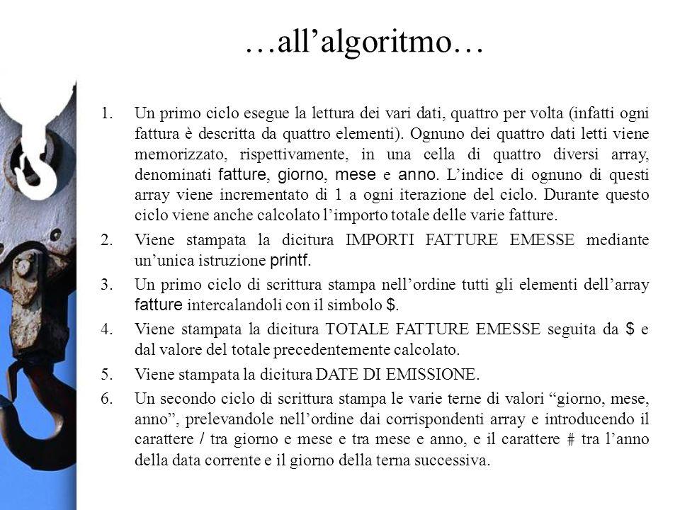 …allalgoritmo… 1.Un primo ciclo esegue la lettura dei vari dati, quattro per volta (infatti ogni fattura è descritta da quattro elementi). Ognuno dei