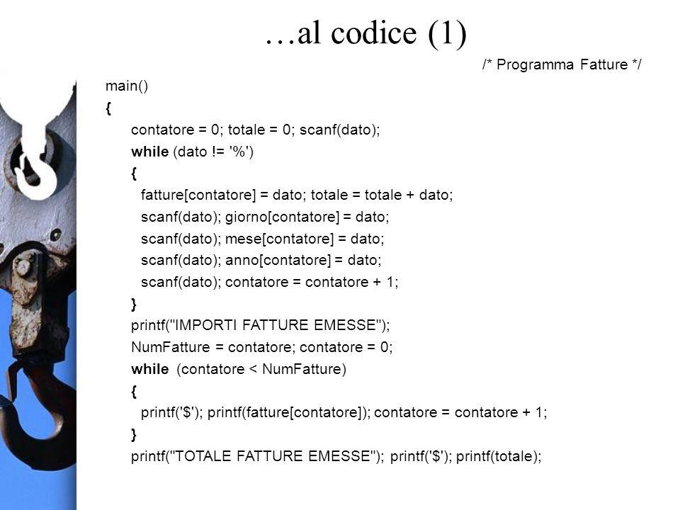 …al codice (1) /* Programma Fatture */ main() { contatore = 0; totale = 0; scanf(dato); while (dato != % ) { fatture[contatore] = dato; totale = totale + dato; scanf(dato); giorno[contatore] = dato; scanf(dato); mese[contatore] = dato; scanf(dato); anno[contatore] = dato; scanf(dato); contatore = contatore + 1; } printf( IMPORTI FATTURE EMESSE ); NumFatture = contatore; contatore = 0; while (contatore < NumFatture) { printf( $ ); printf(fatture[contatore]); contatore = contatore + 1; } printf( TOTALE FATTURE EMESSE ); printf( $ ); printf(totale);