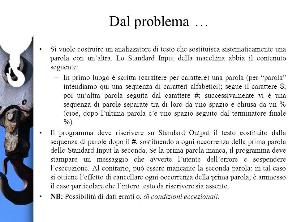 Dal problema … Si vuole costruire un analizzatore di testo che sostituisca sistematicamente una parola con unaltra.