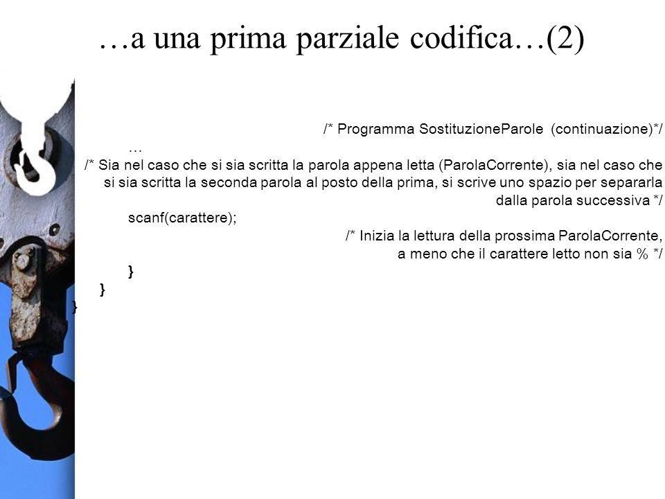 …a una prima parziale codifica…(2) /* Programma SostituzioneParole (continuazione)*/ … /* Sia nel caso che si sia scritta la parola appena letta (Paro