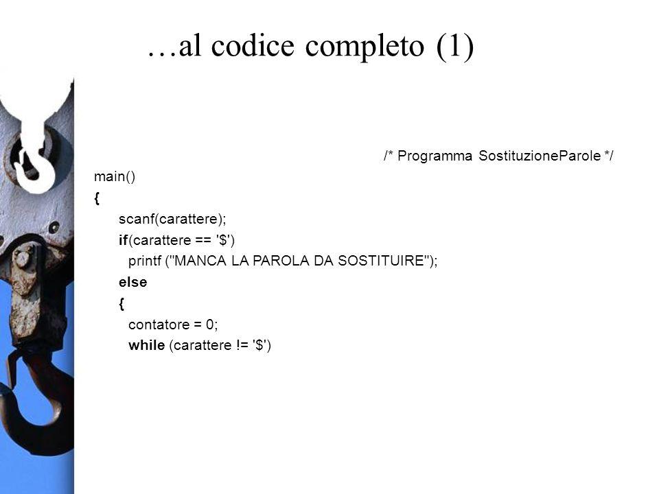 …al codice completo (1) /* Programma SostituzioneParole */ main() { scanf(carattere); if(carattere == $ ) printf ( MANCA LA PAROLA DA SOSTITUIRE ); else { contatore = 0; while (carattere != $ )