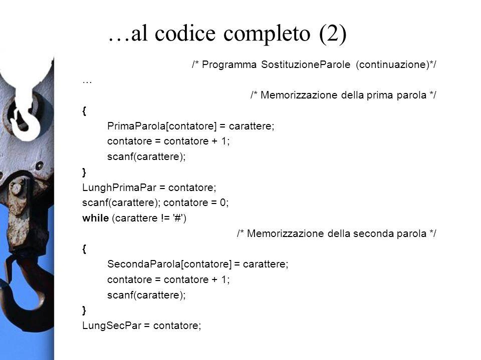 …al codice completo (2) /* Programma SostituzioneParole (continuazione)*/ … /* Memorizzazione della prima parola */ { PrimaParola[contatore] = carattere; contatore = contatore + 1; scanf(carattere); } LunghPrimaPar = contatore; scanf(carattere); contatore = 0; while (carattere != # ) /* Memorizzazione della seconda parola */ { SecondaParola[contatore] = carattere; contatore = contatore + 1; scanf(carattere); } LungSecPar = contatore;