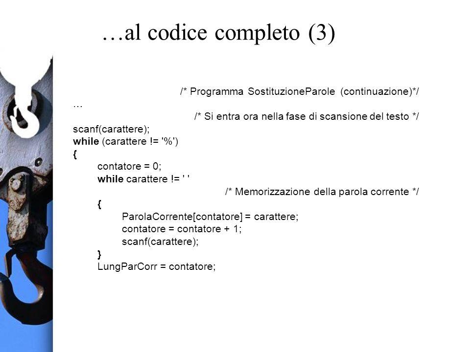 …al codice completo (3) /* Programma SostituzioneParole (continuazione)*/ … /* Si entra ora nella fase di scansione del testo */ scanf(carattere); while (carattere != % ) { contatore = 0; while carattere != /* Memorizzazione della parola corrente */ { ParolaCorrente[contatore] = carattere; contatore = contatore + 1; scanf(carattere); } LungParCorr = contatore;