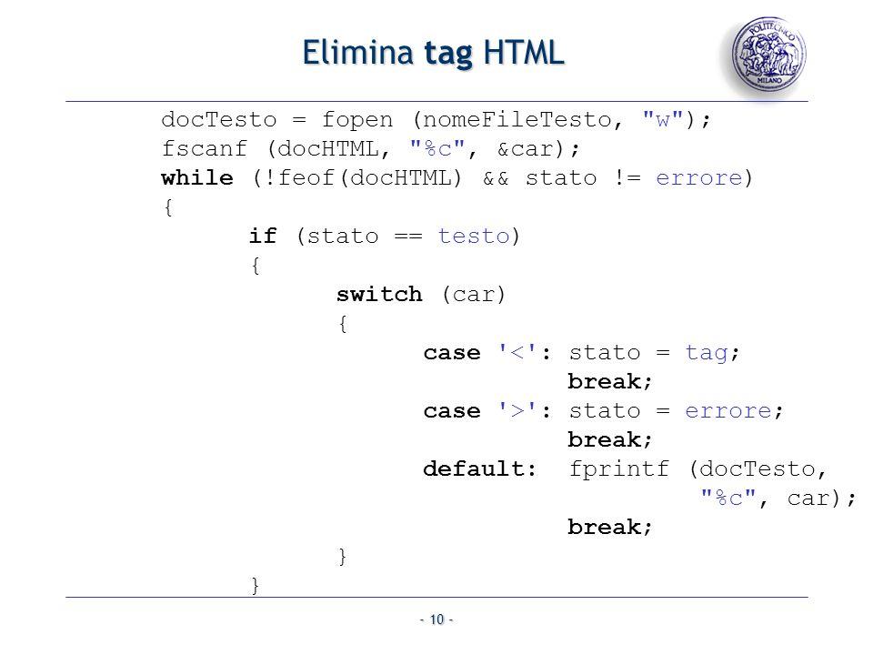 - 10 - Elimina tag HTML docTesto = fopen (nomeFileTesto,