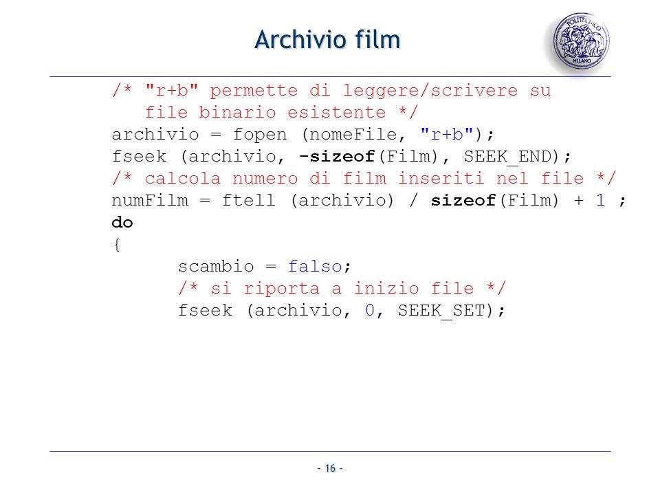- 16 - Archivio film /*