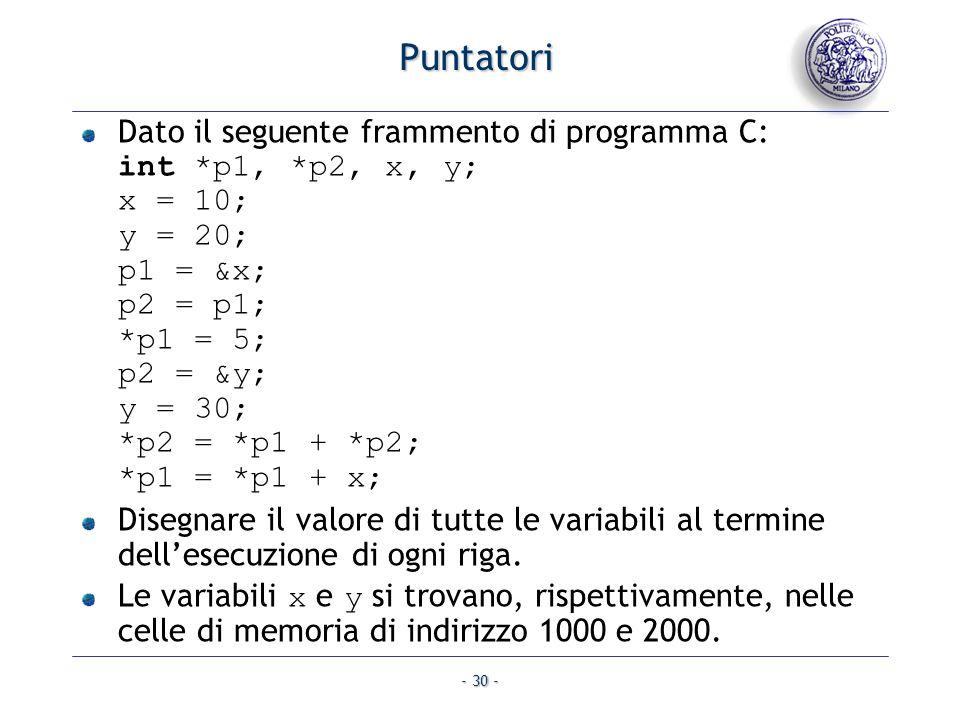 - 30 - Puntatori Dato il seguente frammento di programma C: int *p1, *p2, x, y; x = 10; y = 20; p1 = &x; p2 = p1; *p1 = 5; p2 = &y; y = 30; *p2 = *p1