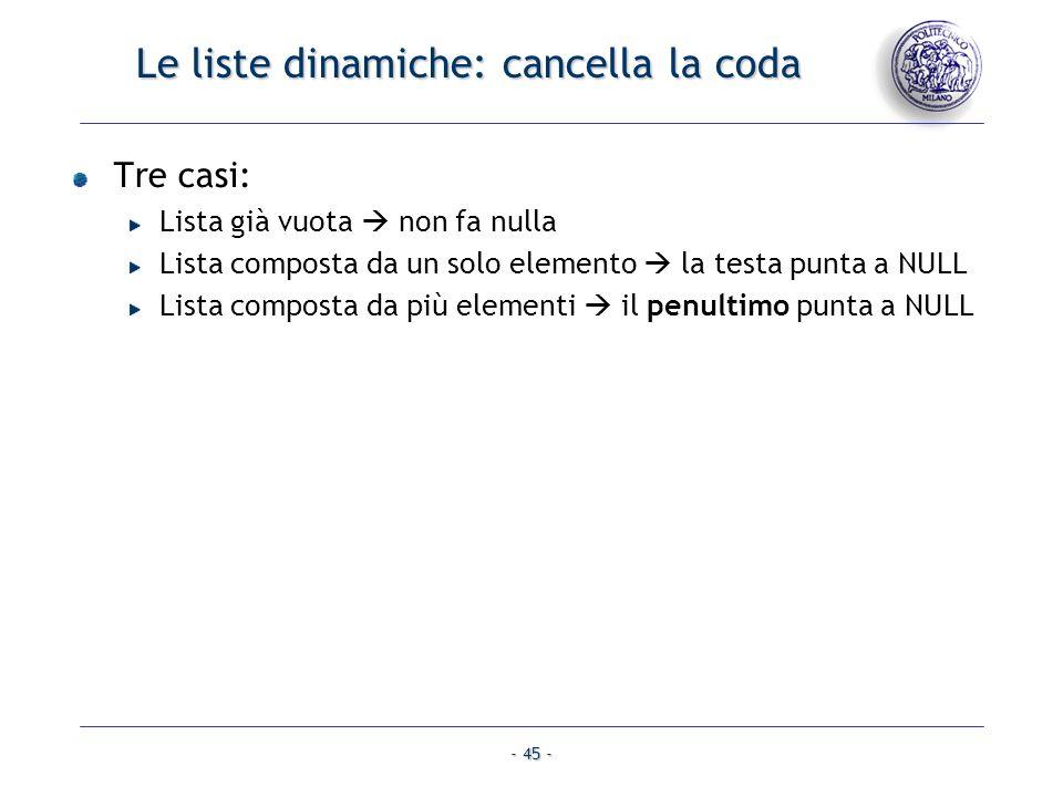 - 45 - Le liste dinamiche: cancella la coda Tre casi: Lista già vuota non fa nulla Lista composta da un solo elemento la testa punta a NULL Lista comp