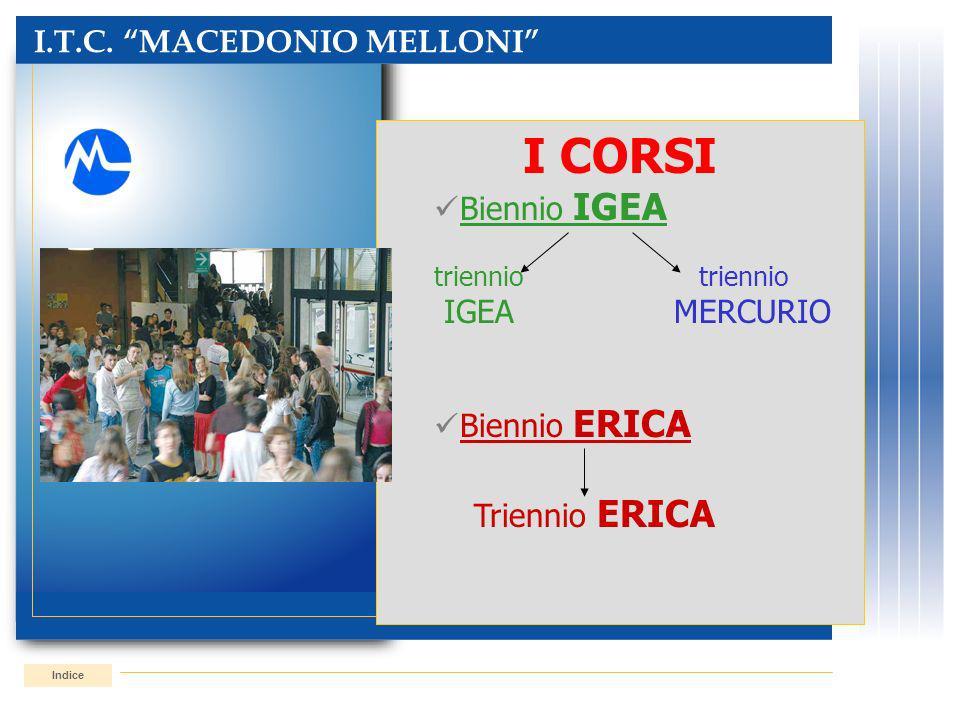 I.T.C. MACEDONIO MELLONI Indice I CORSI Biennio IGEA triennio IGEAMERCURIO Biennio ERICA Triennio ERICA