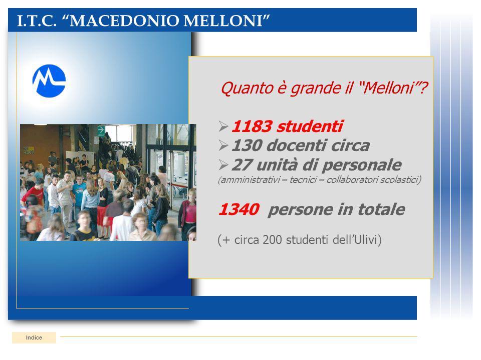 I.T.C. MACEDONIO MELLONI Indice Quanto è grande il Melloni? 1183 studenti 130 docenti circa 27 unità di personale ( amministrativi – tecnici – collabo