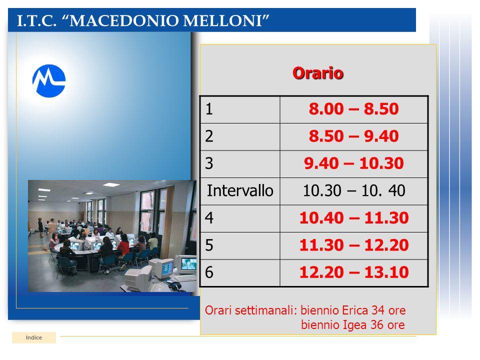 I.T.C. MACEDONIO MELLONI IndiceOrario Orari settimanali: biennio Erica 34 ore biennio Igea 36 ore 18.00 – 8.50 28.50 – 9.40 39.40 – 10.30 Intervallo10