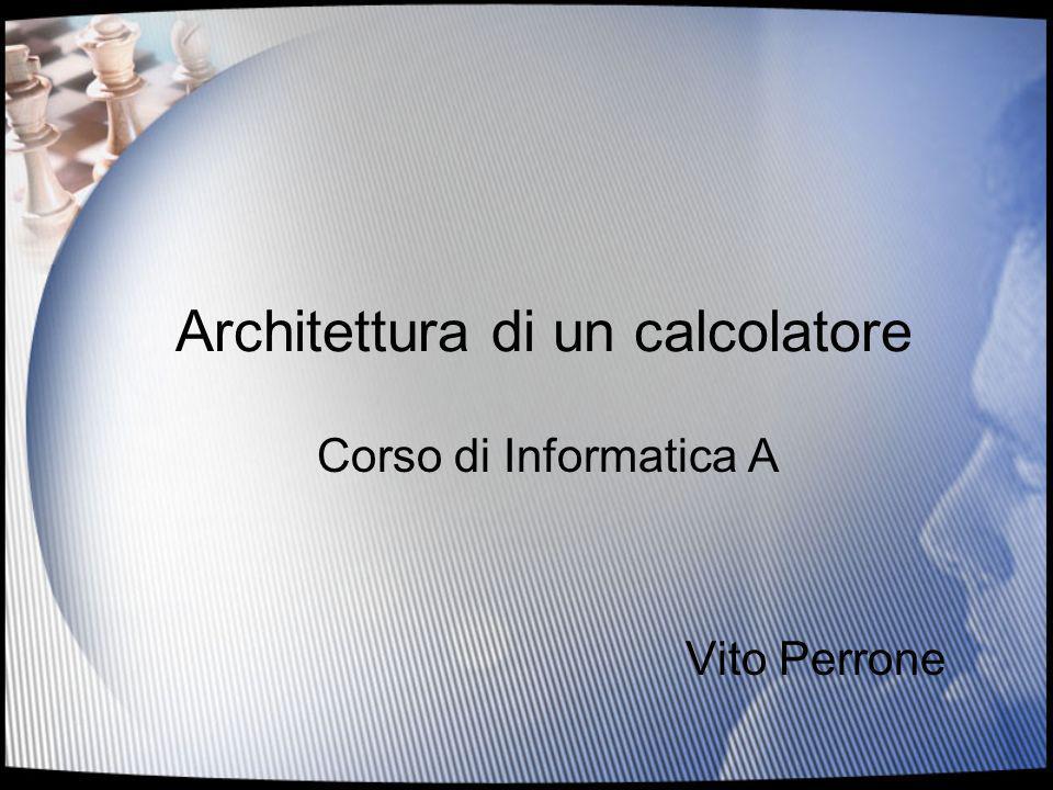 Architettura di un calcolatore Corso di Informatica A Vito Perrone