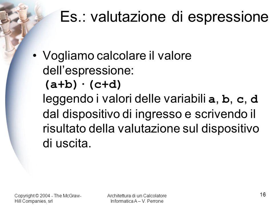 Copyright © 2004 - The McGraw- Hill Companies, srl Architettura di un Calcolatore Informatica A – V. Perrone 16 Es.: valutazione di espressione Voglia