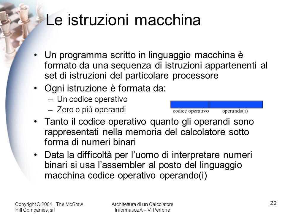 Copyright © 2004 - The McGraw- Hill Companies, srl Architettura di un Calcolatore Informatica A – V. Perrone 22 Le istruzioni macchina Un programma sc
