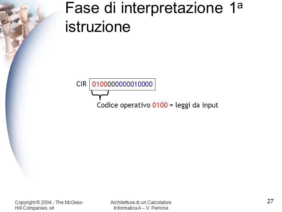 Copyright © 2004 - The McGraw- Hill Companies, srl Architettura di un Calcolatore Informatica A – V. Perrone 27 Fase di interpretazione 1 a istruzione