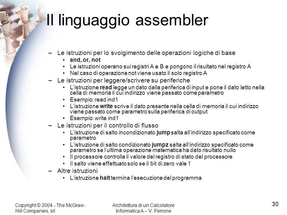 Copyright © 2004 - The McGraw- Hill Companies, srl Architettura di un Calcolatore Informatica A – V. Perrone 30 Il linguaggio assembler –Le istruzioni