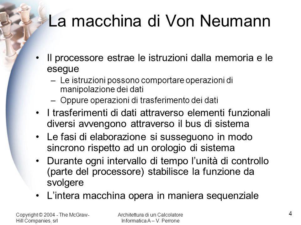 Copyright © 2004 - The McGraw- Hill Companies, srl Architettura di un Calcolatore Informatica A – V. Perrone 4 La macchina di Von Neumann Il processor