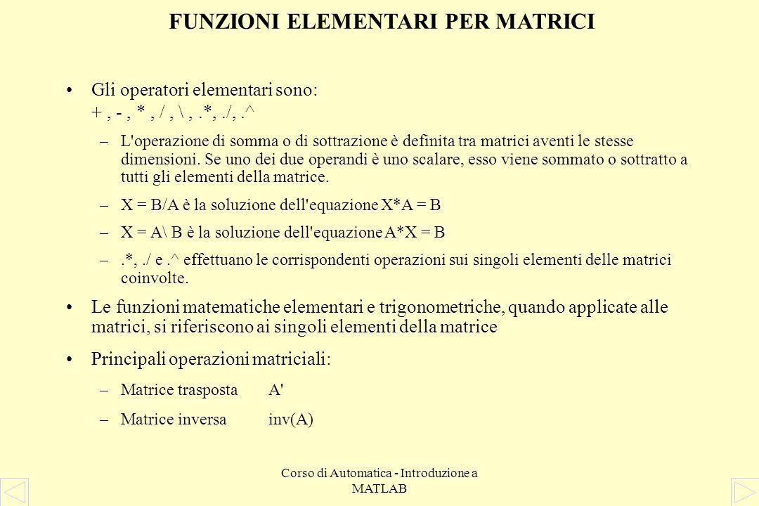 Corso di Automatica - Introduzione a MATLAB FUNZIONI ELEMENTARI PER SCALARI Altre costanti predefinite: –pipigreco –Infinfinito –NaNNot a Number (gene