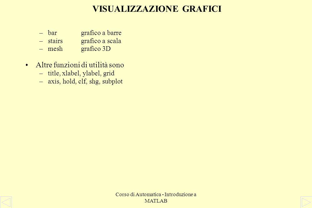 Corso di Automatica - Introduzione a MATLAB VISUALIZZAZIONE GRAFICI La funzione plot produce grafici bidimensionali e può essere chiamata con diverse