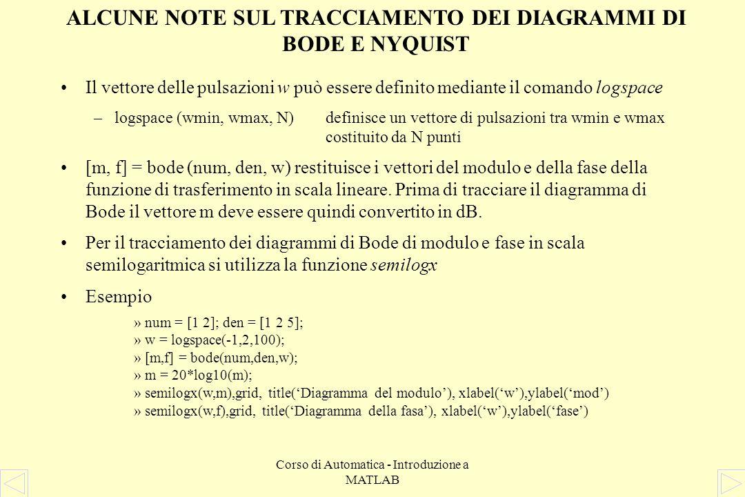 Corso di Automatica - Introduzione a MATLAB ALCUNE ISTRUZIONI PER APPLICAZIONI DI CONTROLLO nyquist (num, den, w)traccia il diagramma di Nyquist della funzione di trasferimento descritta dai polinomi num e den in corrispondenza delle pulsazioni specificate dal vettore w rlocus (num, den, k)traccia il luogo delle radici della funzione di trasferimento descritta dai polinomi num e den.