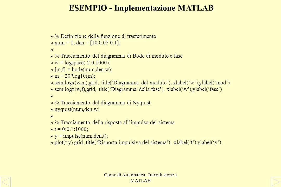 Corso di Automatica - Introduzione a MATLAB ESEMPIO La funzione di trasferimento che lega la forza u allo spostamento y della massa M è quindi Siano M = 10 Kg, Ke = 0,1 N/m, Kv = 0.05 Ns/m Vediamo ora come si possa utilizzare Matlab per ricavare i diagrammi di Bode e Nyquist della funzione di trasferimento, e la risposta allimpulso del sistema