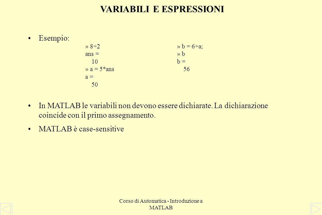 Corso di Automatica - Introduzione a MATLAB VARIABILI E ESPRESSIONI Esempio: In MATLAB le variabili non devono essere dichiarate.