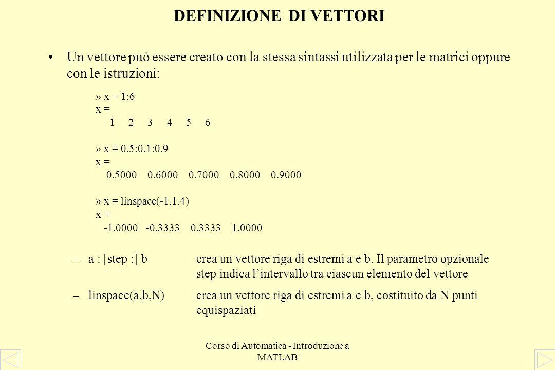 Corso di Automatica - Introduzione a MATLAB Per accedere agli elementi di una matrice: –A(n,m)estrae lelemento (n,m) della matrice A –A(n,:)estrae ln-