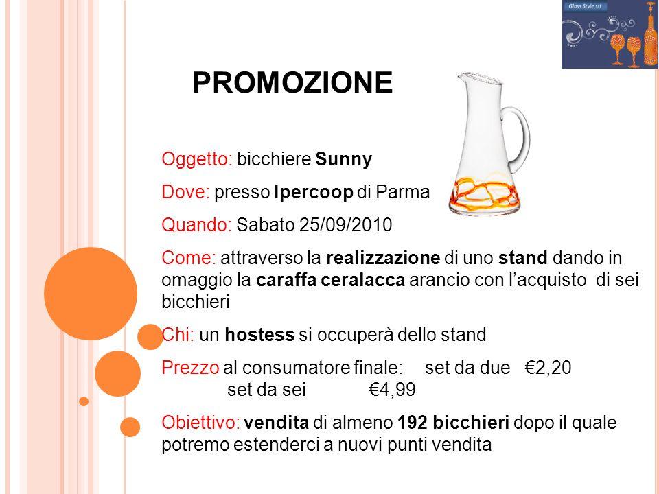 PROMOZIONE Oggetto: bicchiere Sunny Dove: presso Ipercoop di Parma Quando: Sabato 25/09/2010 Come: attraverso la realizzazione di uno stand dando in o